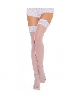 Sheer Lace Stay Up Stockings - White