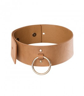 Maze Wide Leather-Look Choker with Leash - Bijoux