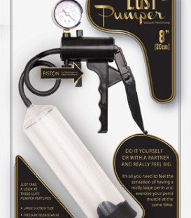 Lust Pumper Vacuum Penis Pump with Piston Handle & Pressure Gauge - Lust Pumper