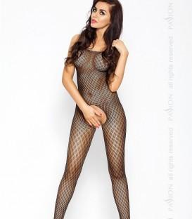 Crochless Full Length Diamond Mesh Body Stocking - Passion