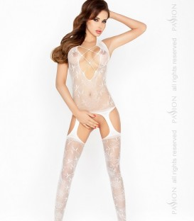 Criss-Cross Floral Lace Crotchless Body Stocking - Passion
