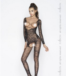 Long-sleeved Bodystocking in Floral Lace - Passion