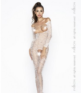 Floral Lace Long Sleeve Crotchless Body Stocking - Passion
