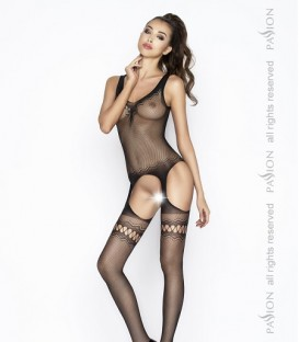 Crotchless Bodystocking with Fishnet Garter Effect - Passion