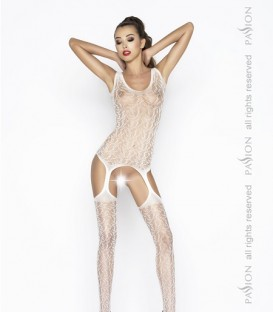 Leaf Detailed Lace Mesh Crotchless Body Stocking - Passion