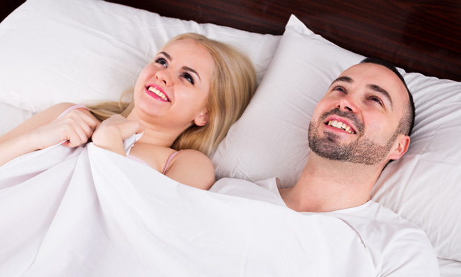 Couple happy after sex with vibrating cock ring